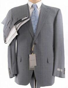 Canali NWT Suit Size 44L In Gray With Textured Light Blue Stripes Wool $2,095