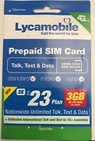 Lycamobile $23 Plan Prepaid 3 Month Plan with  3GB 4G LTE Unlimited Talk, Text