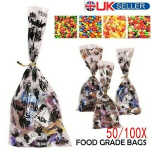 50/100XCone Bags Sweet Treat Candy Kid Party Christmas Halloween Cellophane+Ties