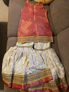 Girls Pink & Gold Boutique Gharara Suit Indian Pakistani Asian Dress Sz 9-10 Yrs