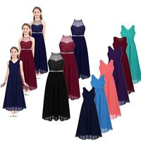 Chiffon Girls Junior Flower Party Formal Wedding Bridesmaid Princess Gown Dress