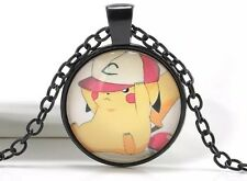 "Pokemon Pikachu With Hat Cabochon Necklace Pendant Chain Black 18"" US Seller"