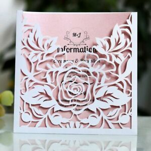 Invitations Card Square Laser Cut Rose Flower Designs Event Party Supplies Cards
