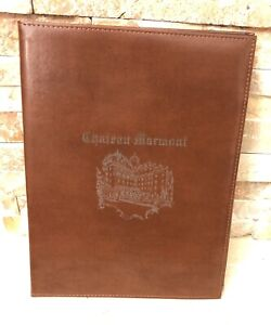 """VINTAGE 80s CHATEAU MARMONT HOTEL GIFT SHOP Leather Padfolio 9""""X12"""""""