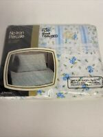 Vintage Penneys Fashion Manor Blue Stripe Floral Twin Flat Sheet USA