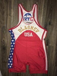 Tervel Dlagnev Cliff Keen Red White Blue USA Wrestling Singlet 3XL XXXL Ohio RTC