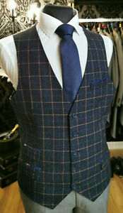 NAVY WITH CORAL CHECKED TWEED WAISTCOAT PHEASANT DETAIL SHOOTING/WEDDING/COUNTRY