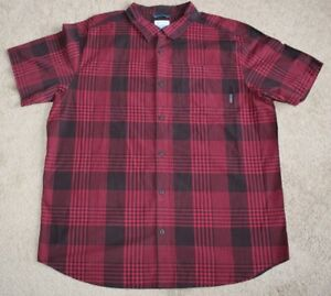 Columbia Mens Eaglecreek Red Plaid Short Sleeve Button-up Shirt Sz XL Retail $45