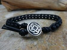 "Men's Irish Celtic Matte Black Onyx Gemstone Bead Leather Wrap Bracelet 7.25"""