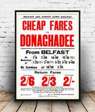 Irish Railway timetable poster cheap fares advertising poster reproduction.