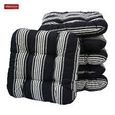 4 Sitzkissen 38 x 38 cm schwarz-weiß gestreift Kissen Stuhlkissen Gartenkissen