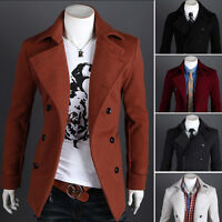 Men's Slim Stylish Trench Wool Coat Winter Jacket Double Breasted Overcoat New