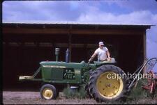 Farmer Poses on His JOHN DEERE 3020 Diesel Farm Tractor Vintage 1964 Slide Photo