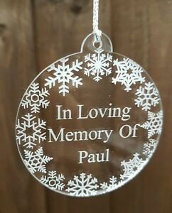 Engraved acrylic snowflake personalised memorial bauble christmas decoration
