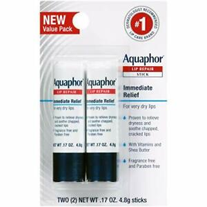 Aquaphor Lip Repair Stick - Soothes Dry Chapped Lips - Two .17 Oz Sticks.