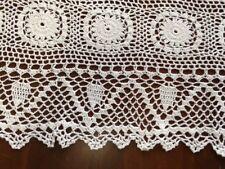 Vntage Handmade Crochet  Cotton Table Runner Desktop Decor Cover  color white