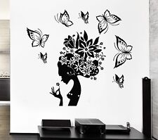 Wall Decal Pretty Butterfly Beauty Salon Woman Abstract Hair Stickers (ig2537)