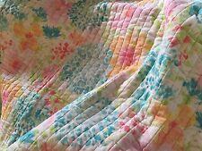 French Country Chic Throw Blanket Rug Blue Green Aqua Yellow White Pink Orange