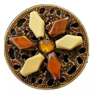 Handmade Brooch Wooden Beads Amber Colored Stone Center Circle Pin Plastic Base