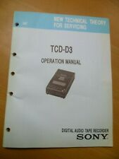 SONY  TCD-D3  DAT -SERVICE MANUAL - PRINTED IN JAPAN- IN ENGLISH -1991