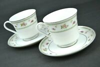 Abingdon Porcelain China Footed Tea Cup & Saucer White w/ Roses Silver Trim
