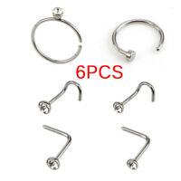 6PCS/Set Stainless Steel Nose Stud Ring Hoop Body Hinged Segment Body PierciYNUK