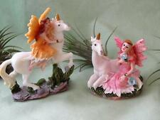 2 WOODLAND PINK YELLOW FAIRIES WHITE UNICORN FLOWERS FAIRY GARDEN RESIN