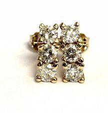 14k yellow gold .82ct SI3-I1 H 3 stone diamond earrings vintage estate womens