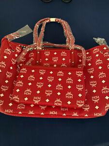 MCM VISETOS MEDIUM LIZ REVERSIBLE SHOPPER TOTE – RUBY RED WITH WHITE BAG WITH PO