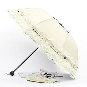 Anti UV Sun/Rain Pagoda 3 Folding Umbrella Lace Lacework Princess Bridal Wedding