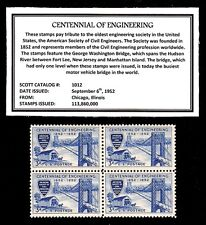 1952 - CENTENNIAL of ENGINEERING -  Block of Four Vintage U.S. Postage Stamps