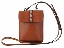 "Mini Genuine Distressed Leather Tan Crossbody Bag or Wear as a Clip-On 5""Wx7.5""H"