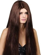 "Ladies Long Straight 24"" Brown Wig Fancy Dress Halloween Hippy Hippie 60s 70s"