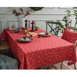 Cotton Linen Christmas Bell Tree Print Tablecloth Table Cover Rectangular Decor