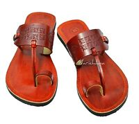 Women Hand stamped Leather Sandals Brown Ladies Real Leather Christian Sandal