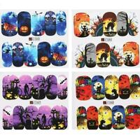 48sheets nail art water decals skull halloween manicure stickers transfer K7E4