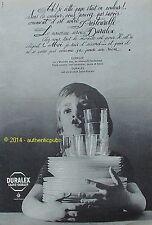 PUBLICITE SAINT GOBAIN DURALEX MIROITIER VERRE ASSIETTE NE CASSE PAS DE 1963 AD