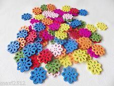 50 un. de madera 20 mm Flor Cose en los botones - 2 Agujero-Cardmaking-Colores Mezclados