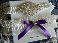 WEDDING GARTER BOXED SET IVORY - BEADED MOTIF -PURPLE  BOW