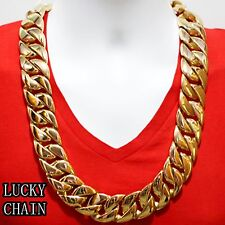 "STAINLESS STEEL CUBAN CURB CHAIN GOLD NECKLACE(SUPER HEAVY)(30""x 31mm)995g A26"