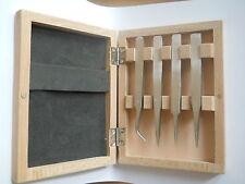 Ensemble n. 4 pince à épiler horloger dans la boîte de en bois