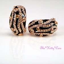 Rose Gold Plated & Black Enamel Tiger Stripe Stud Earrings w/ Swarovski Crystals