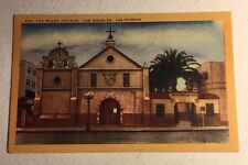 Post Card Old Plaza Church Los Angeles California Linen Unsent