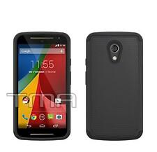 Hybrid Impact Shock Proof Rugged Case For Motorola Moto G 2nd Gen G2 - Black