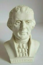 White Bonded Marble Figurine Presidential Bust Thomas Jefferson 1997 USA Made