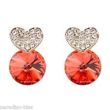 Orecchini Da Donna Cristallo Swarovski Elements Dorato Cuore Rosso OR237