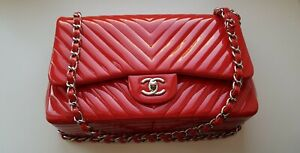 CHANEL Red Chevron Quilted Patent Leather Jumbo Classic Flap Bag