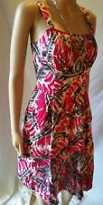 BASQUE Petites 12 Dress Pink Grey Printed Zip Fit and Flare Pleated Casual Work
