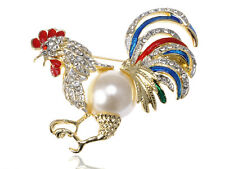 Womens Gold Tone Clear Rhinestones Faux Pearl Rooster Chicken Brooch Pin