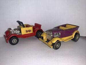 Vintage 1970s Tonka Lot: Rumble Bee & Draggin Wagon~Red/Yellow/Purple